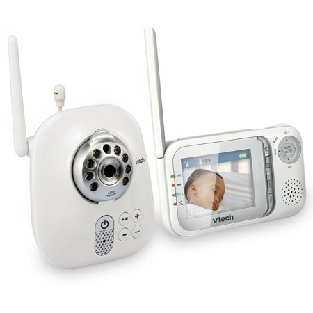 VTech VM321 Safe & Sound Expandable Digital Video Baby Monitor with Camera and Automatic Night Vision, 1 Parent Unit, White