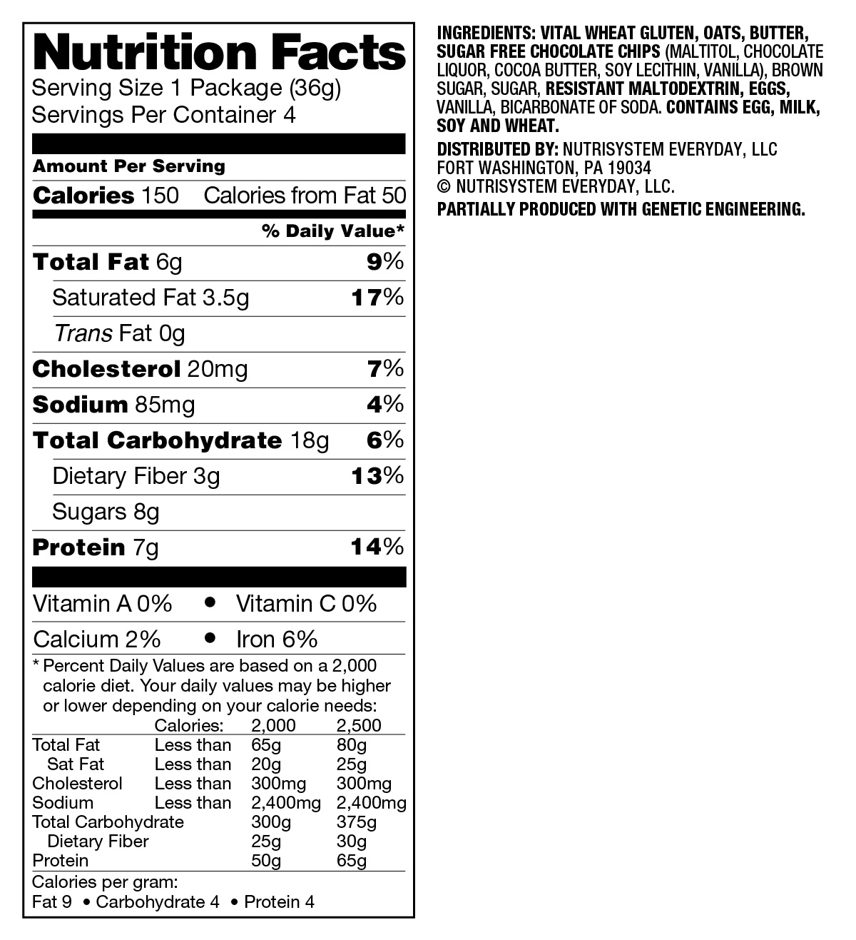 Nutrisystem D Chocolate Chip Cookie, 1