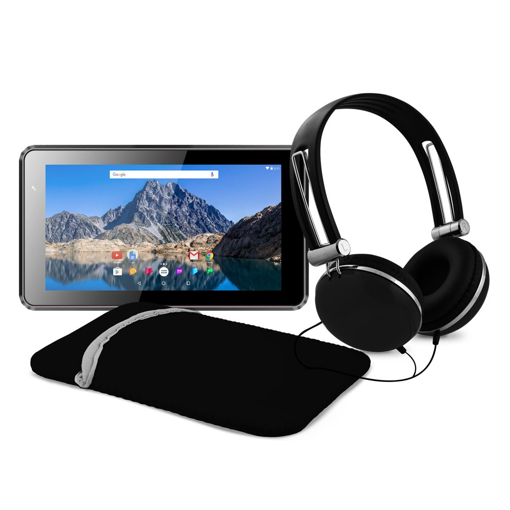 """Ematic 7"""" 16GB Tablet with Android 7.1 (Nougat) + Sleeve and Headphones, Black (EGQ373BL)"""