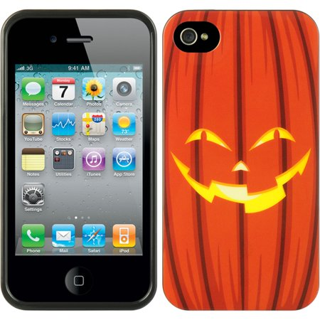 Insten TPU Imd Halloween Design Rubber Skin Gel Back Shell Case For Apple iPhone 4 / 4S - Orange Pumpkin - Halloween Series Imdb