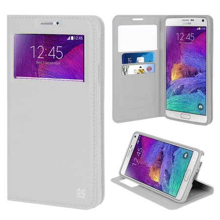 purchase cheap 31299 5ed80 NOTE 4 WALLET CASE, WHITE INFOLIO WINDOW WALLET CREDIT ID CARD CASE STAND  FOR SAMSUNG GALAXY NOTE 4