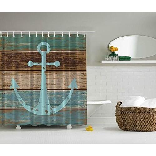 Nautical Anchor Rustic Wood Shower Curtain - Mildew resistant - W/ Shower Hooks