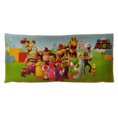 Super Mario And Princess (Super Mario Body Pillow Cover with Zipper, Kids Bedding, 20 x 54, Mario)