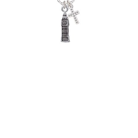 London's Big Ben Clock Tower  - White Crystal Cross Sophia Necklace, - Crystal Cross Necklace