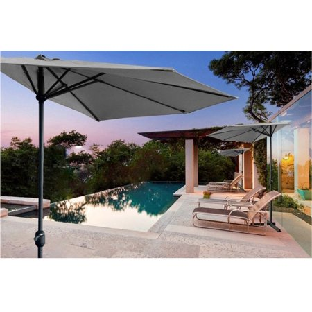Mr.Garden 9ft Half Round Umbrella Patio Market Wall Balcony Door Window Sun Shade, Taupe ()