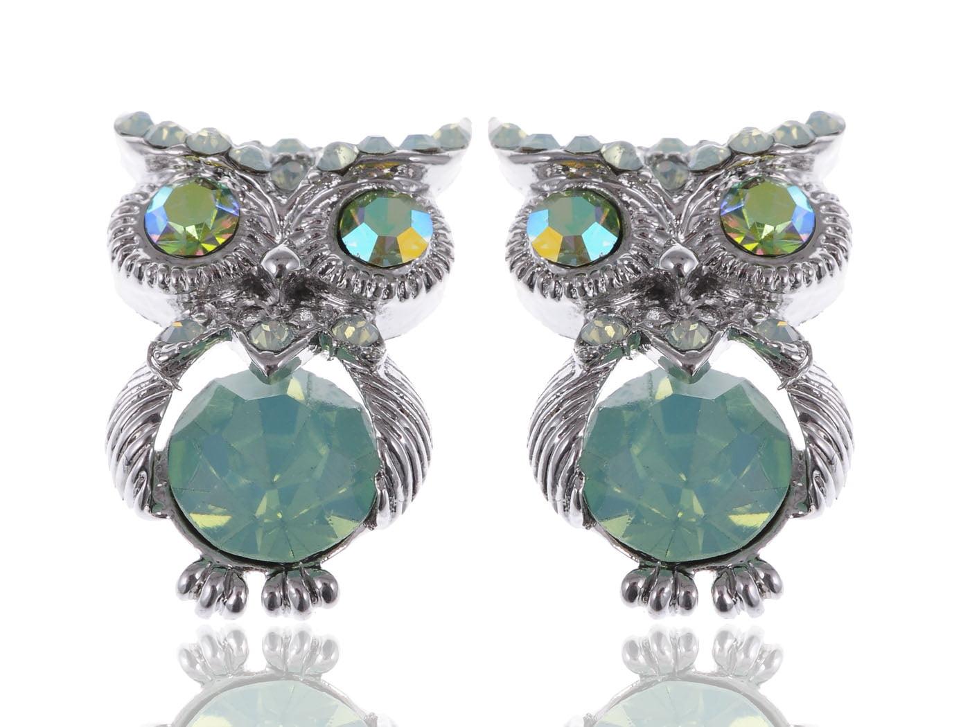 Silvertone Mini Pacific Opal Rhinestone Green Bodied Owl Fashion Button Earrings by