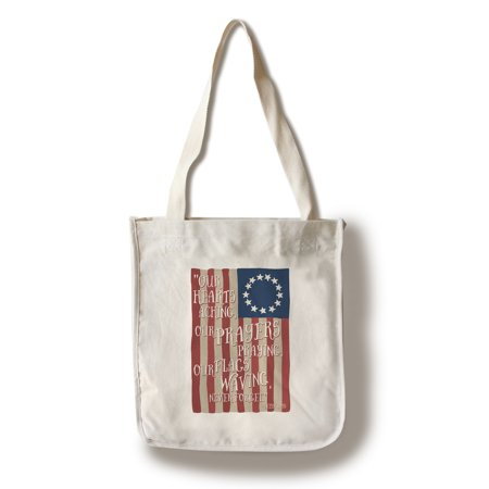 Betsy Ross Flag - Never Forget Quote  - Lantern Press Artwork (100% Cotton Tote Bag - Reusable) (Ross Pipe Bags)