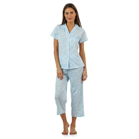 c1813176539 Casual Nights - Casual Nights Lace Trim Women s Short Sleeve Capri Pajama  Set - Walmart.com