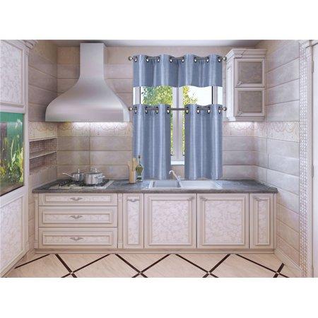 K7 Slate Blue 3-Piece Solid Faux Silk Blackout Grommet Kitchen Window Curtain Set, Two (2) Lined Tiers Panel 28