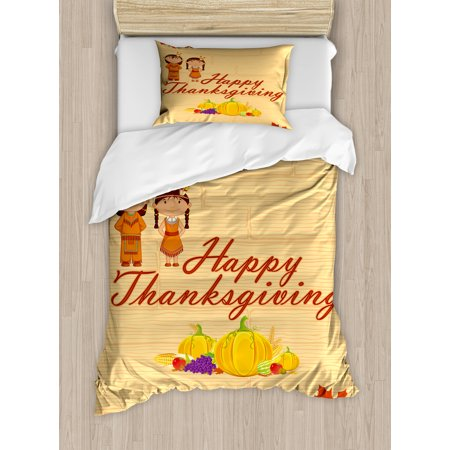 Kids Thanksgiving Twin Size Duvet Cover Set, Children in Native American Costume Preserving Indigenous Heritage, Decorative 2 Piece Bedding Set with 1 Pillow Sham, Orange Multicolor, by Ambesonne - Twin Costumes
