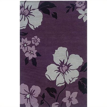 Linon Rugs Trio With A Twist Rectangular Area Rug in Eggplant/Ivory-5