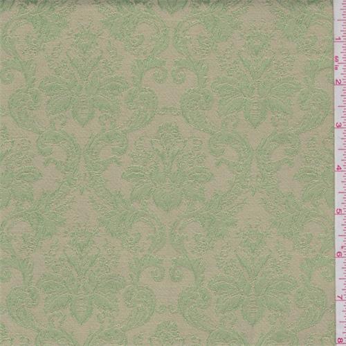 Beige/Avocado Baroque Satin Jacquard, Fabric By the Yard