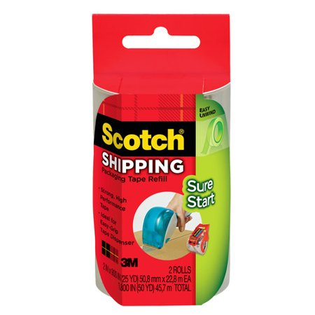 Scotch Sure Start Shipping Tape, 1.88 in. x 900 in, 2 Refill Rolls for DP-1000 Dispenser/Pack