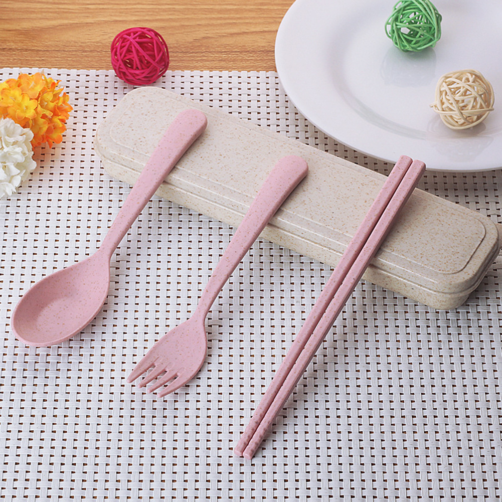 Toddlers Cutlery Kit Multicolor Wheat Straw Bowl With Spoon Plastic Tableware SH
