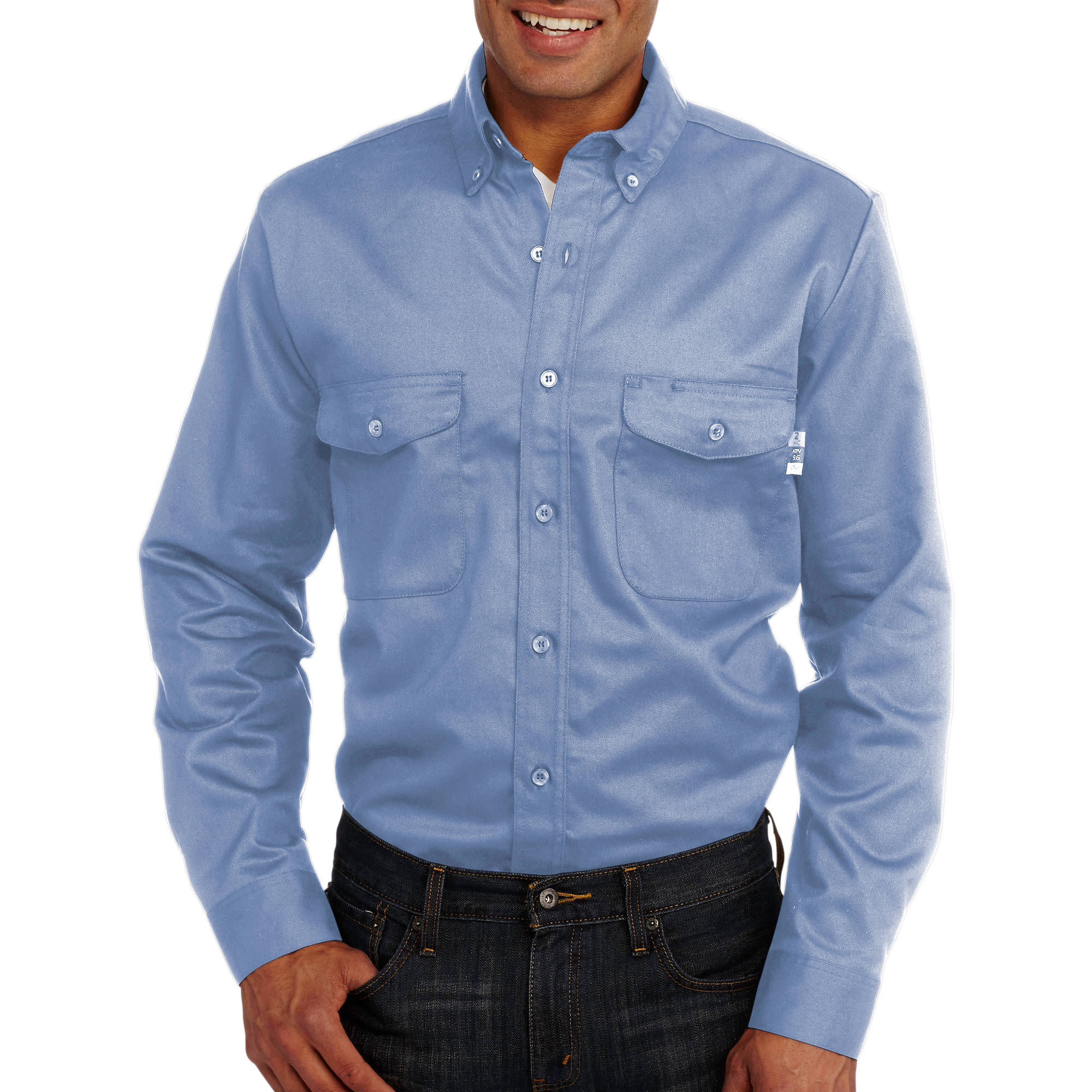 Walls FR Big Men's Flame Resistant Woven Chambray Shirt, HRC Level 2