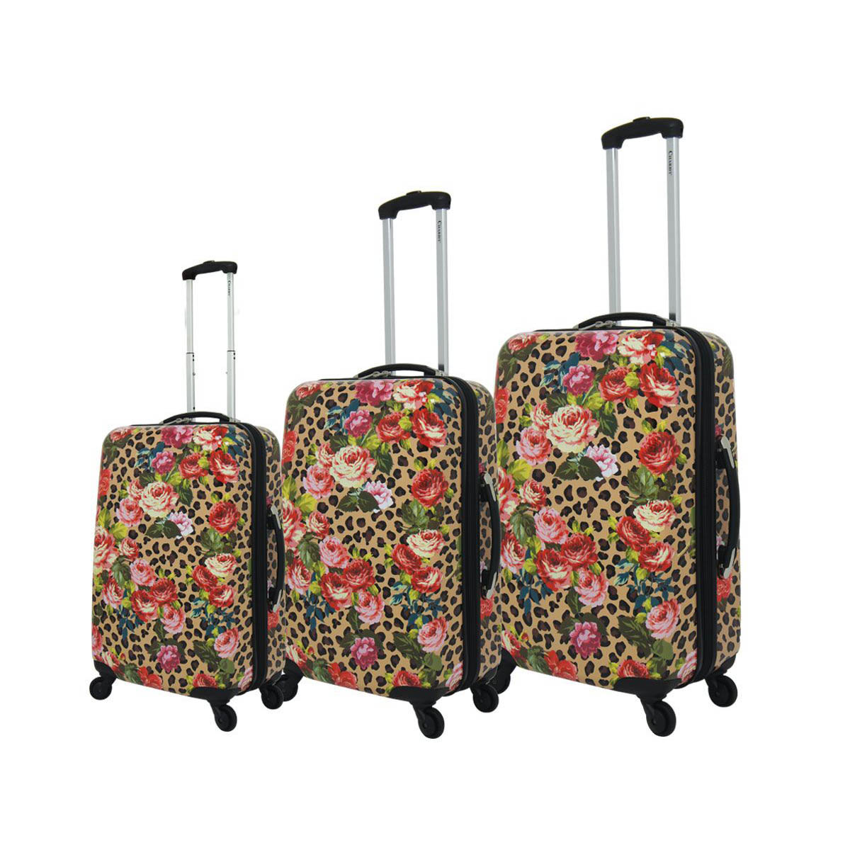 Chariot Leopard Flowers 3-Piece Hardside Upright Spinner Luggage Set