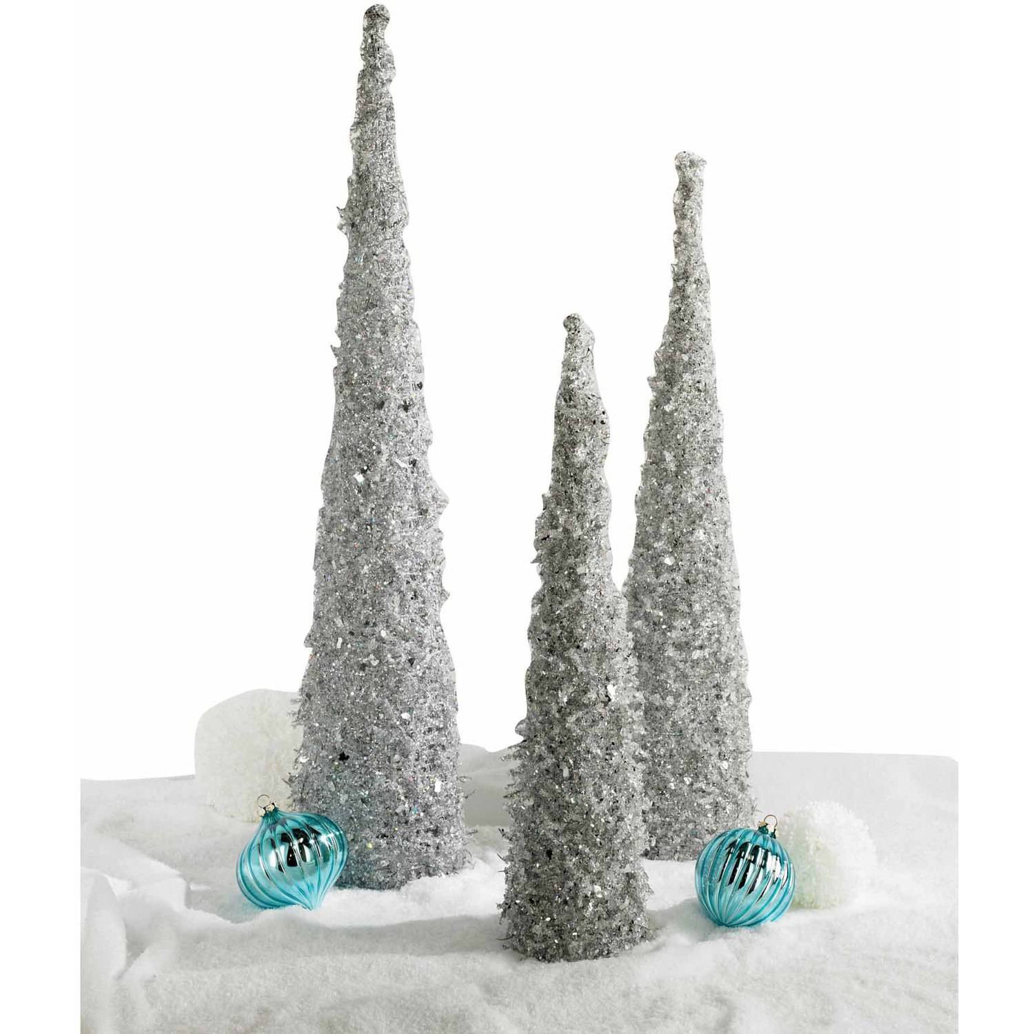 Silver Iced Beaded Cone Tree Small Walmart Com Walmart Com
