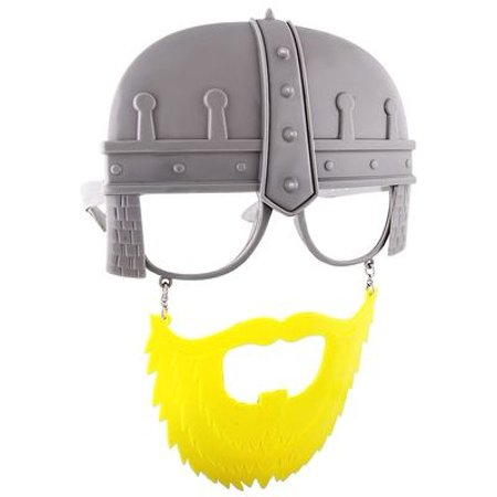 Party Costumes - Sun-Staches - Clear Lens Knight Yellow Beard Sunglasses SG2144 - Lens Party Shop