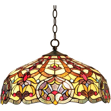 """Chloe Lighting Sadie Tiffany-Style 2-Light Victorian Ceiling Pendant Fixture with 18"""" Shade"""