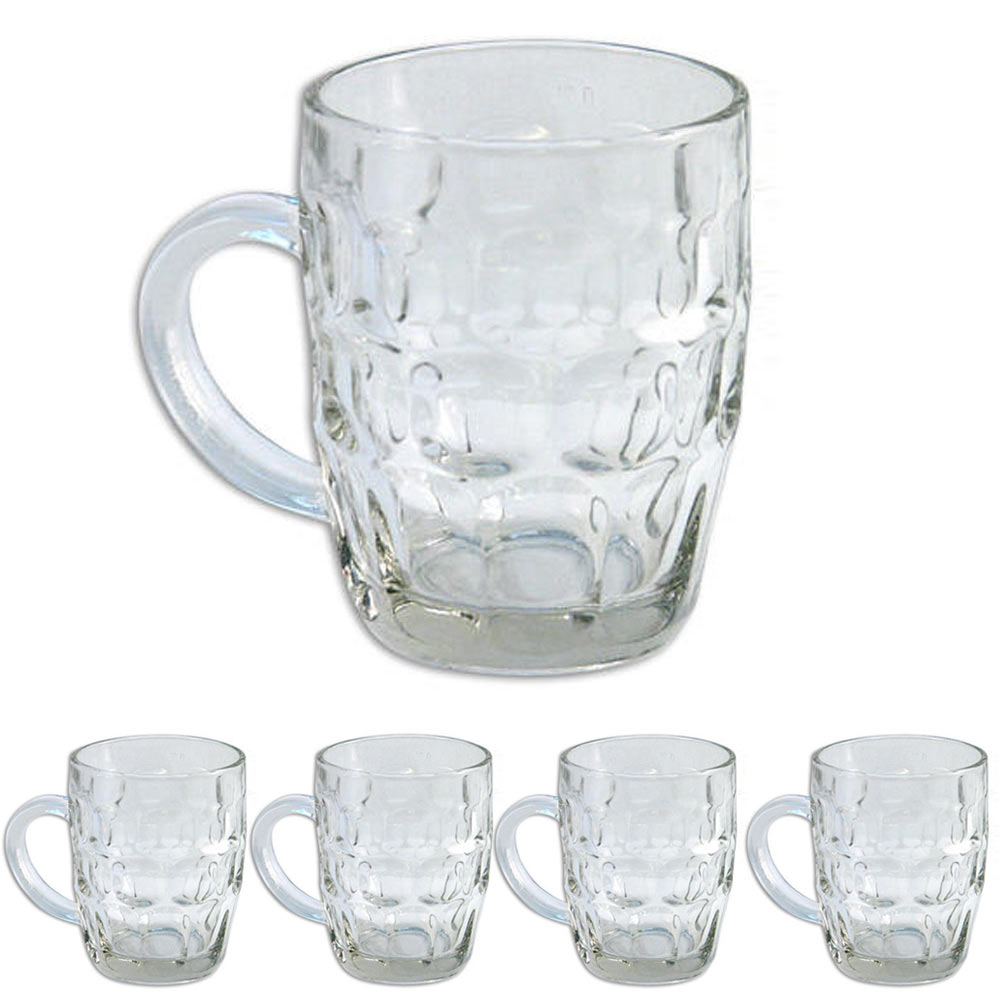 5 Pilsner Glass Cups Clear Coffee Mug Tea Soup Beer Set Hot Cold Beverage 16 Oz