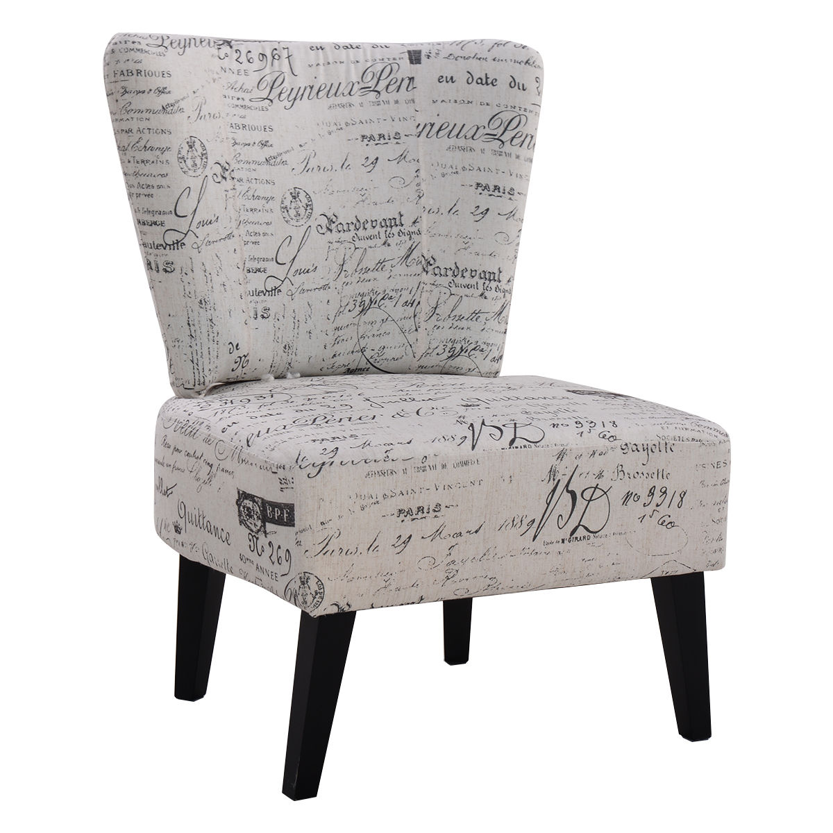 Costway Armless Accent Chair Upholstered Seat Dining Chair Living Room  Furniture