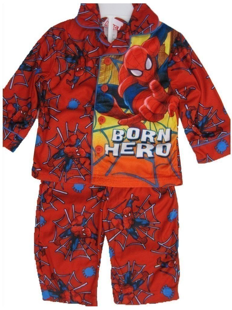 Baby Boys Red Superhero Print Button Down 2 Pc Pajama Set 12-18M