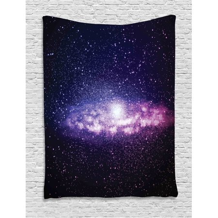 Galaxy Tapestry  Glowing Nebula Cloud In Milky Way Infinity In Interstellar Solar System Design  Wall Hanging For Bedroom Living Room Dorm Decor  60W X 80L Inches  Purple Dark Blue  By Ambesonne