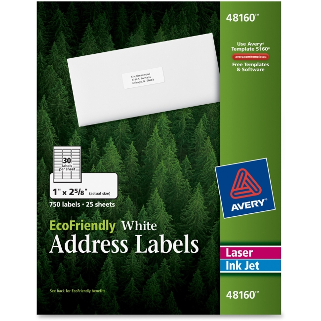 "Avery EcoFriendly Address Labels - Permanent Adhesive - 1"" Width x 2.62"" Length - 30 / Sheet - Rectangle - Laser, Inkjet - White - Paper"