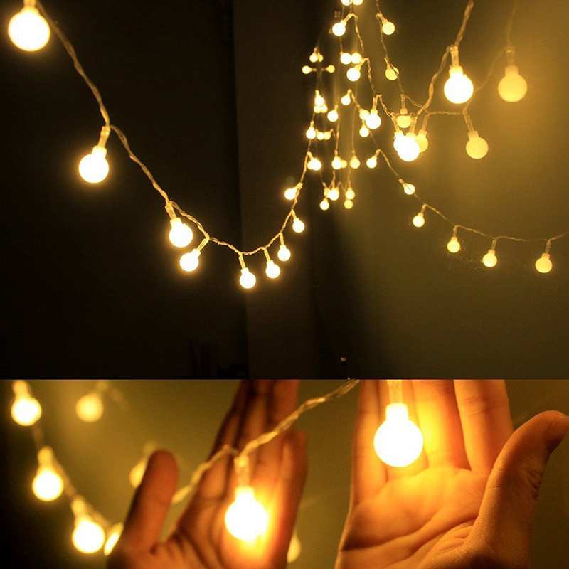 Led String Lights Warm White Ball Fairy Lights Waterproof Decorative Starry Lights For Bedroom