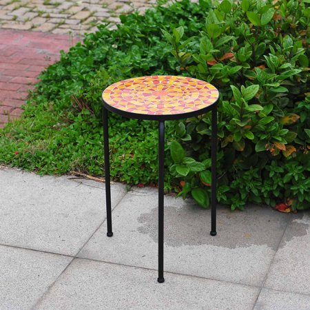 Sunjoy orange halo 14 stacking accent table for Orange outdoor side table
