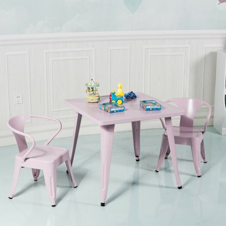 Gymax 3 Pcs Kids Dining Set Square Table & 2 Tolix Armchairs Play Learn Activity Home - image 3 de 10