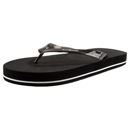 Darice VL2027 Wedding Just Married Mens Flip Flops Sandals, Black - Bulk Flip Flops For Wedding