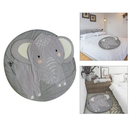 Kids Nursery Rug Elephant Shaped Play Mat Round Carpet Cartoon Elephant Design Baby Floor Playmats for Home Room Decoration 37.4 Inch Grey