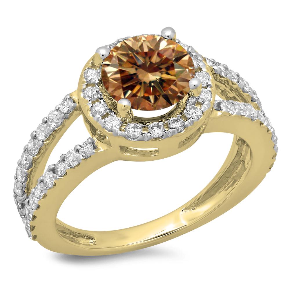 2.33 Carat (ctw) 14K Yellow Gold Round Champagne & White Diamond Ladies Bridal Split Shank Halo Style Engagement Ring
