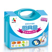 13Pcs/set Kitchen Pretend Play Children Simulation Cooking Tableware with Suitcase Kids Educational Toy blue