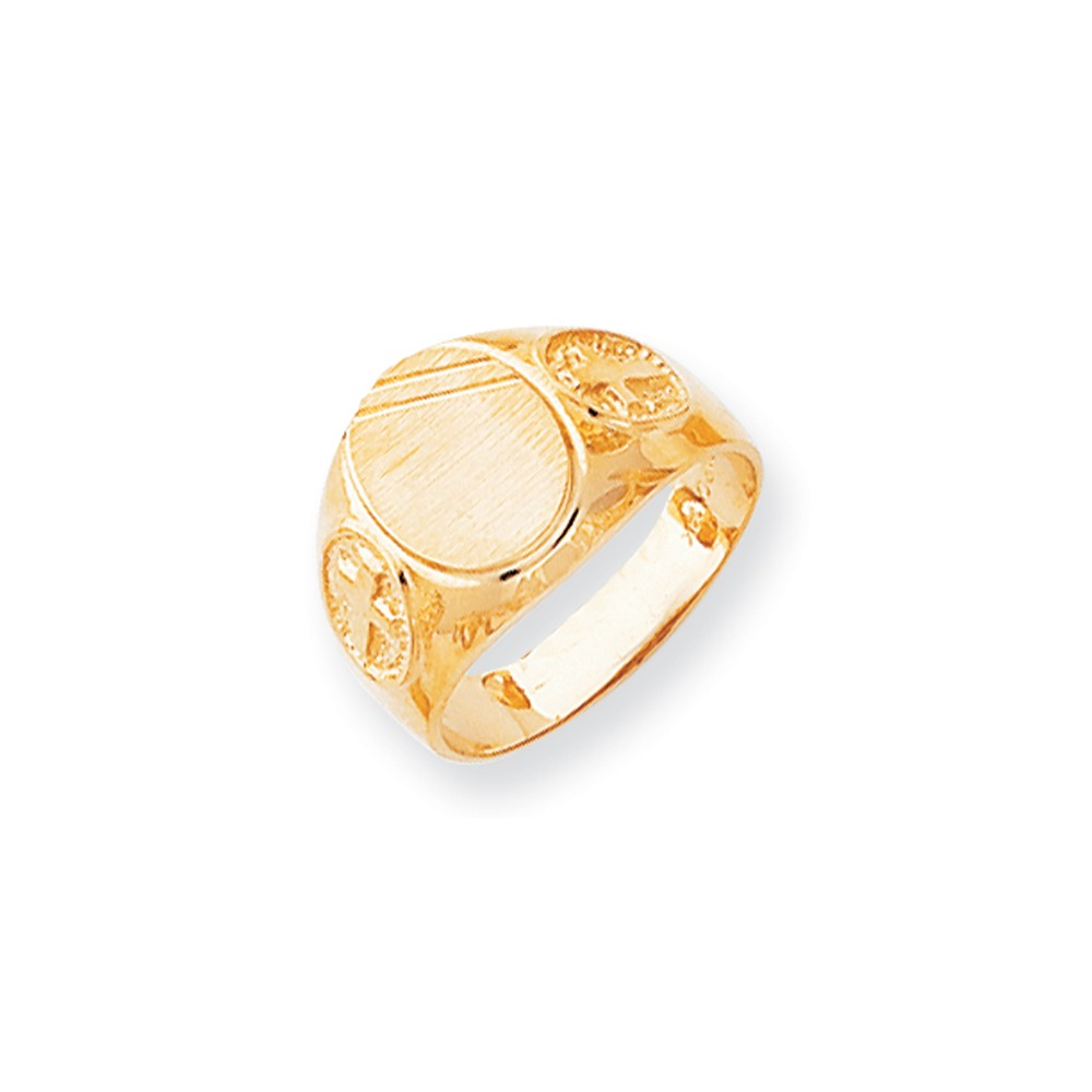 14k Yellow Gold Engravable Men's Signet Ring (11.2mm x 9.4mm face)