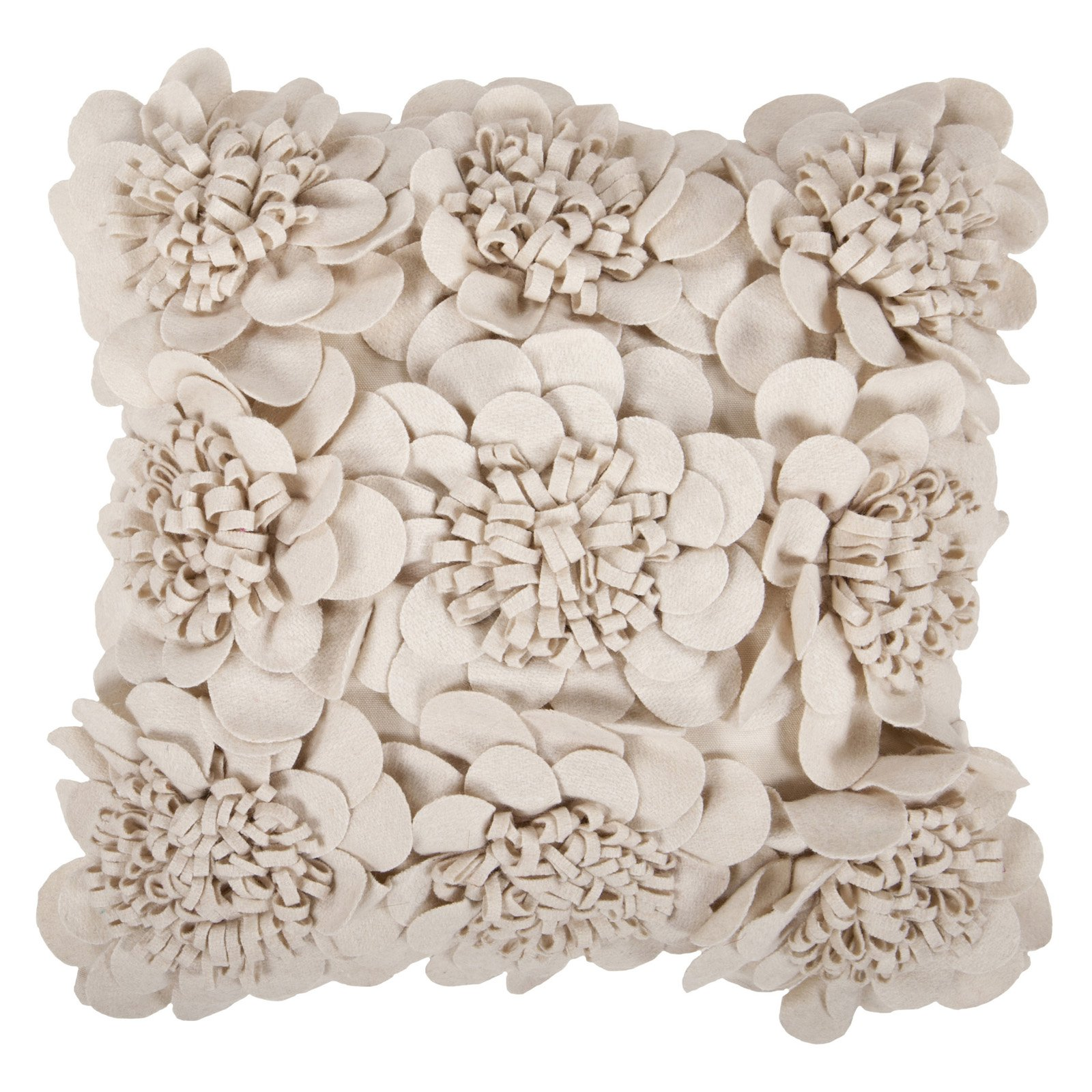 Beige Felted Floral Pillow FA069
