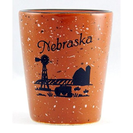Nebraska Farm Scene Ceramic Shot Glass