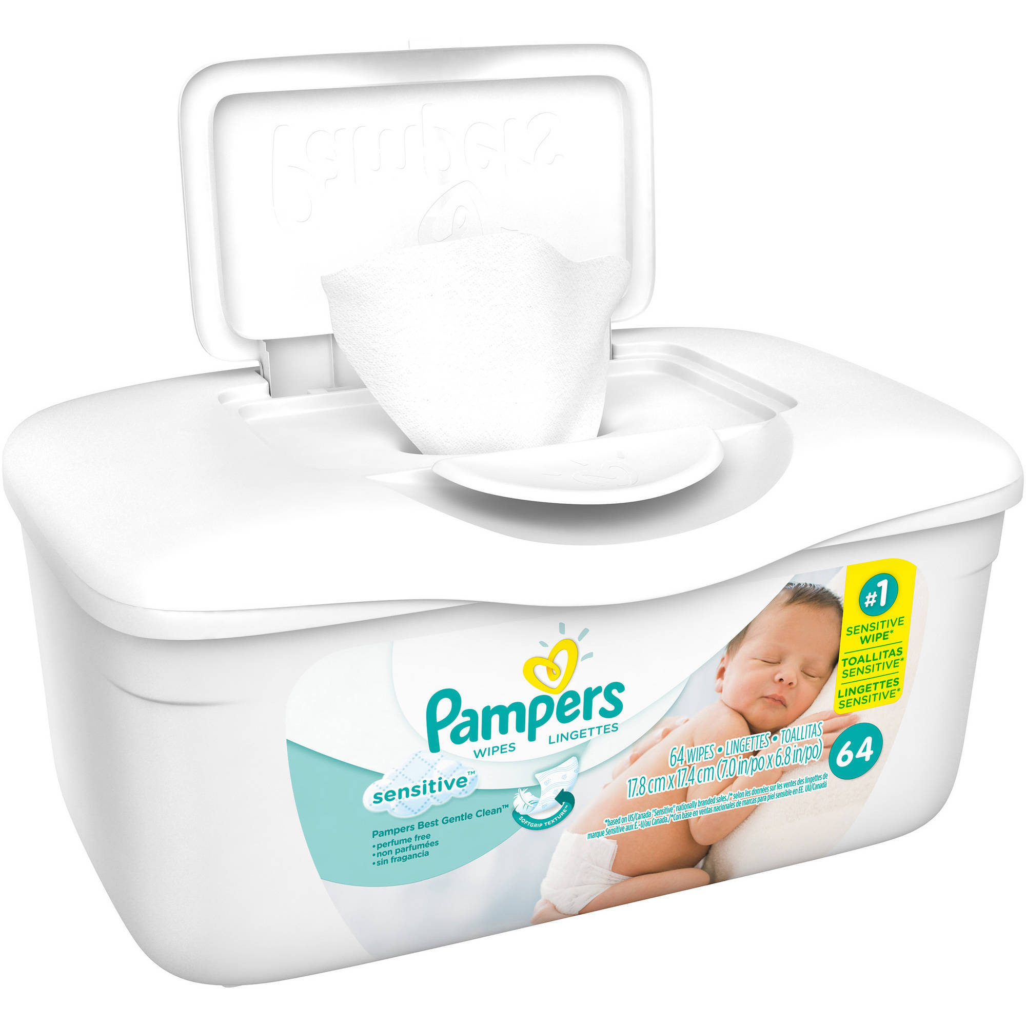 Pampers Sensitive Baby Wipes, 64 sheets