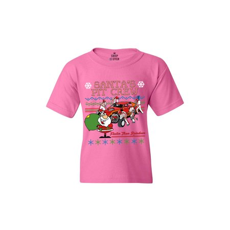 - Shop4Ever Youth Santa's Pit Crew Faster Christmas Ugly Xmas Graphic Youth T-Shirt