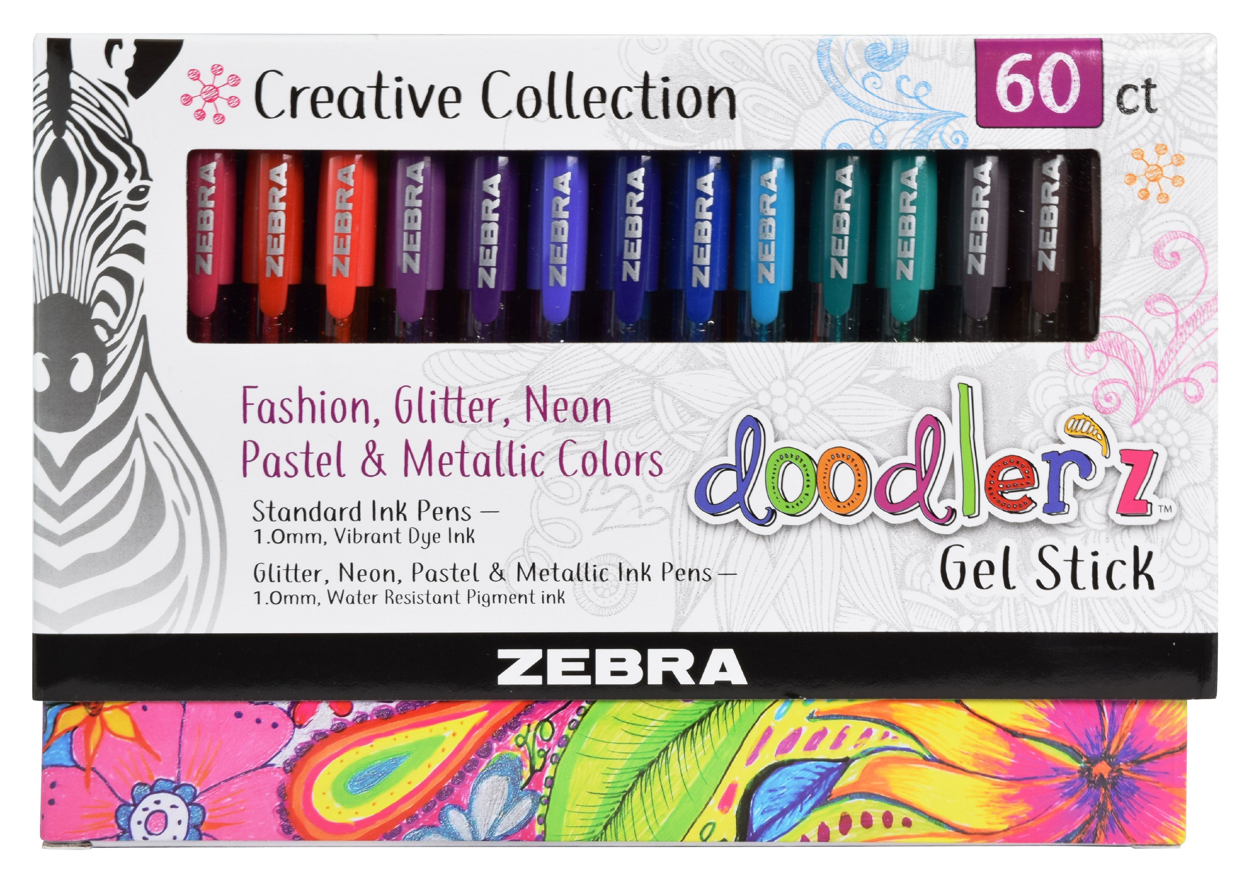 Zebra Pen Doodlerz Gel Stick Pen Mega Set, Bold Point 1.0mm, Assorted Colors, 60-Count