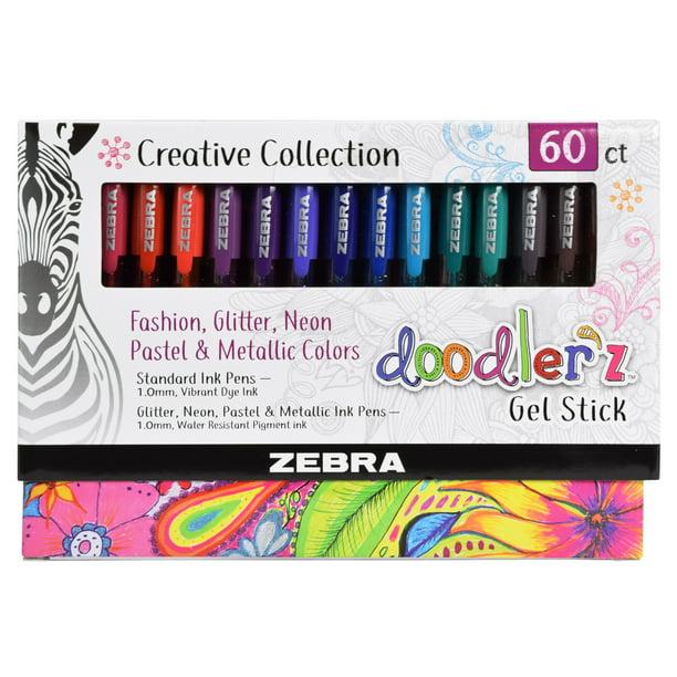 Zebra Pen Doodlerz Gel Stick Pen Mega Set Bold Point 1 0mm Assorted Colors 60 Count Walmart Com Walmart Com