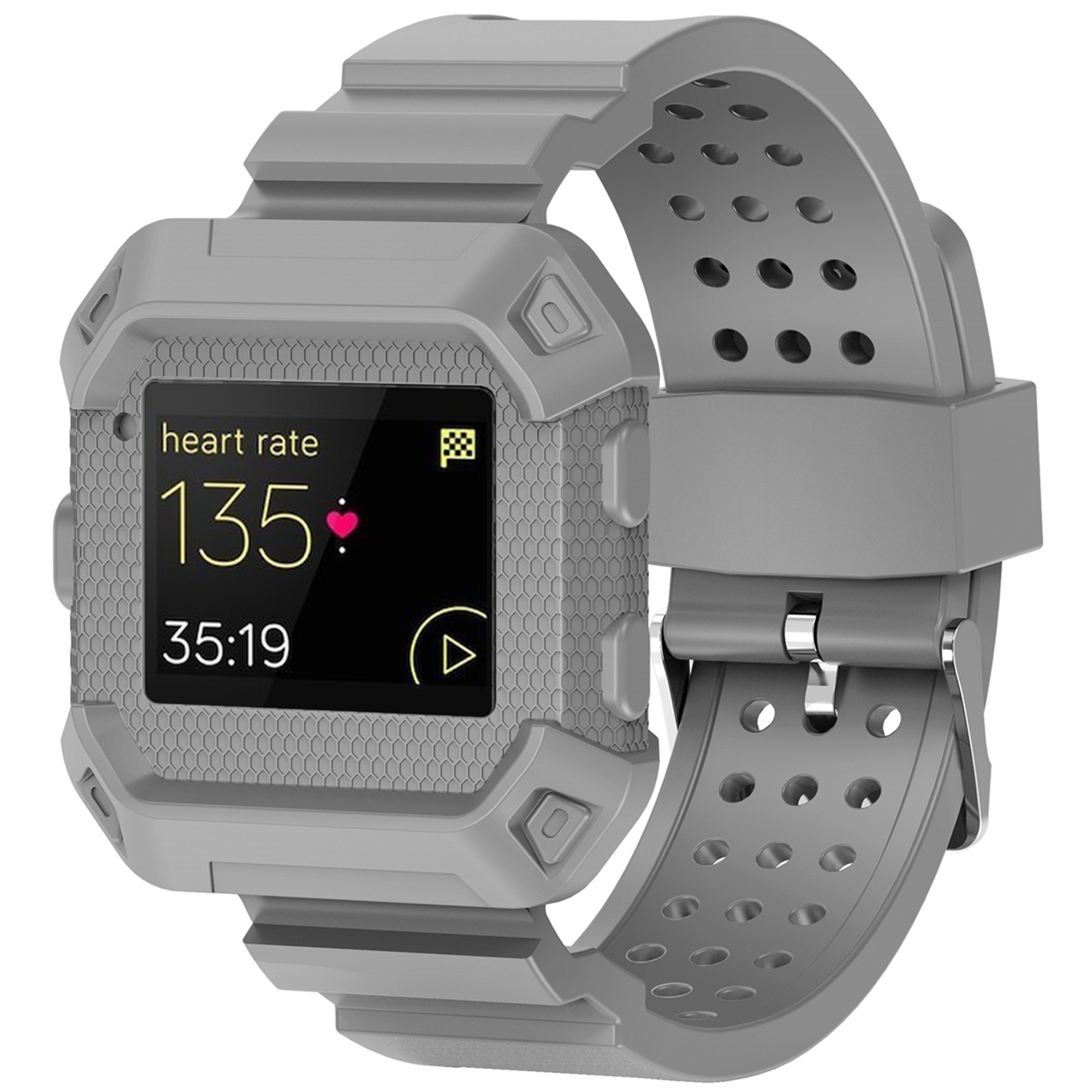 For Fitbit Blaze Band, Rugged Protective Wristband Case with Strap for Fitbit Blaze(Gray)
