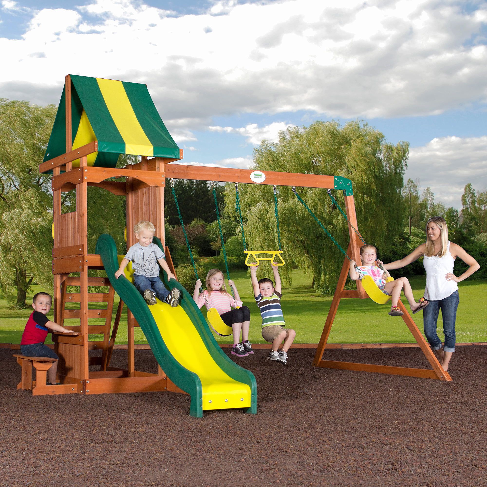 Gorilla Playsets Frontier Cedar Wooden Swing Set Walmartcom - Backyard playground equipment