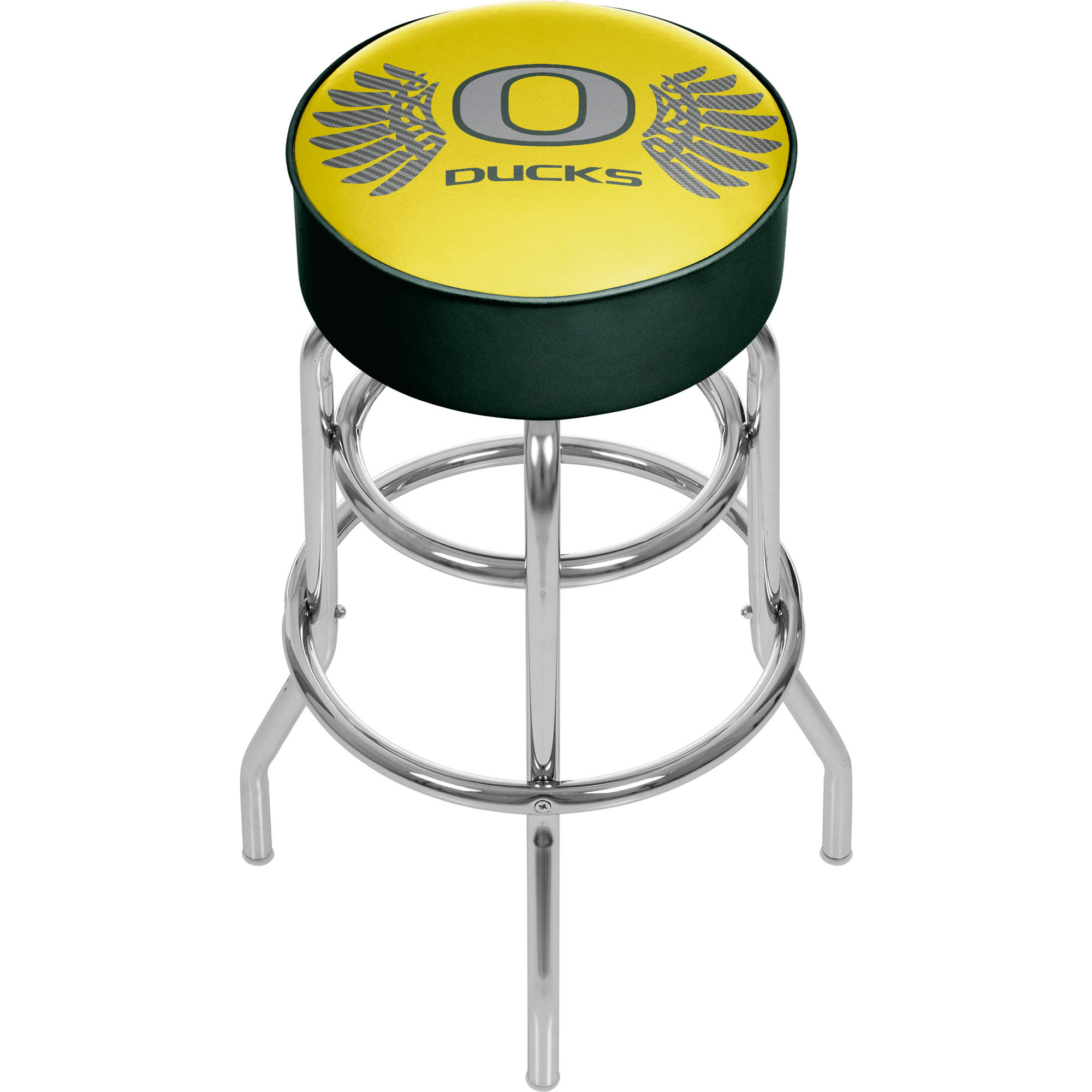 University of Oregon Chrome Bar Stool with Swivel, Wings
