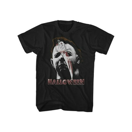 Halloween Scary Horror Slasher Movie Film Mask And Knife Adult T-Shirt Tee](Scary Family Films Halloween)