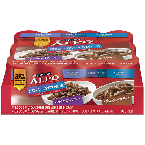 Purina ALPO Beef Lover's Pack Prime Cuts/Gravy Cravers Dog Food 12-13.2 oz. Cans