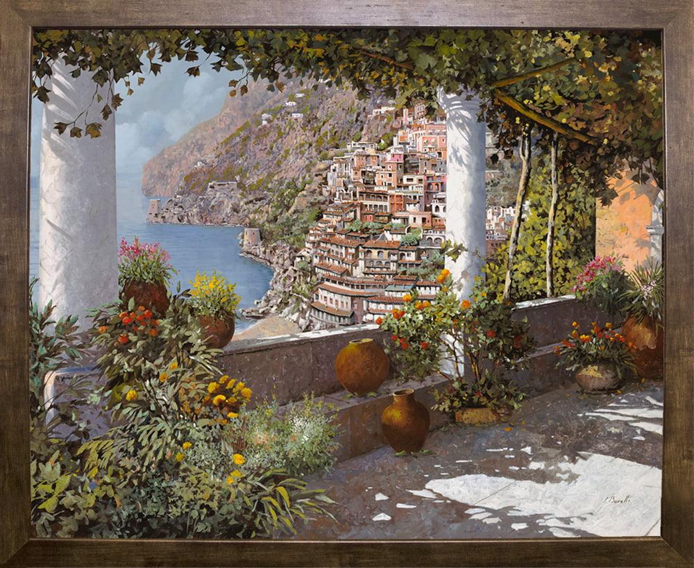 La Terrazza A Positano Guibor108529 Print 15 5 X19 5 By Guido Borelli In A Cafe Mocha Walmart Com