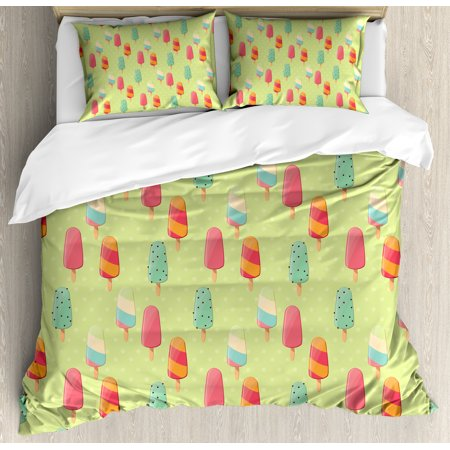 Ice Cream King Size Duvet Cover Set, Delicious Sweet Treats Colorful Summer Theme with Retro Influences Childhood, Decorative 3 Piece Bedding Set with 2 Pillow Shams, Multicolor, by Ambesonne