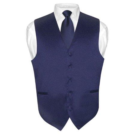 Men's Dress Vest & NeckTie Solid NAVY BLUE Color Neck Tie Set for Suit or